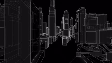 invisible : City Walk blueprint style. 3d illustration video Stock Footage