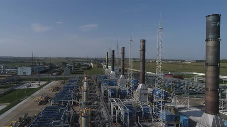 petroleum refinery : 4K Aerial shot from oil tanks and towers in a refinery