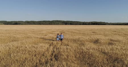 palheiro : Teenager girl and boy walking on field Happy girl and boy Stock Footage