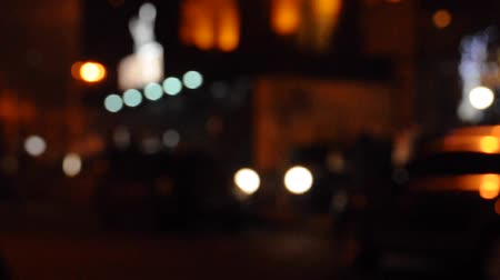 night scene : Night town scene with people and taxi passing up Stock Footage
