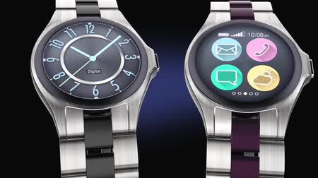 bilek : Luxury smart watches on dark background Stok Video