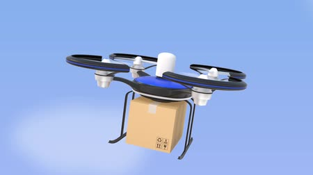 dağıtım : Drone flying and carrying cardboard box