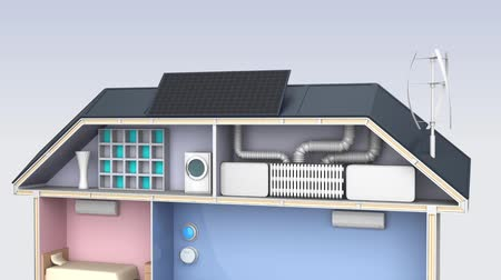 efektivní : Smart house with energy efficient appliances, electric car.