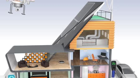 e : Smart house with energy efficient appliances and solar panel