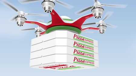доставлять : Air drone delivering pizza  for fast food take out concept Стоковые видеозаписи