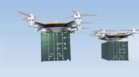 drone : Heavy drones delivering cargo containers in sky Stock Footage