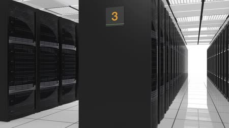 merkez : Rows of blade servers in data center