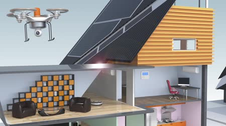 солнечный : Demonstration of smart house concept. Powered by solar and wind energy Стоковые видеозаписи