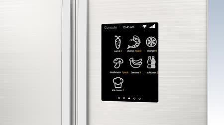 lodówka : Smart refrigerator with LCD touch screen. People can know what need to buy next. Concept  of IoT.