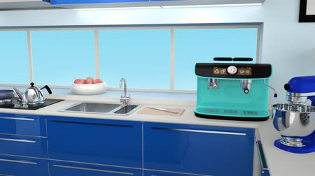 mutfak : Modern kitchen interior in blue color coordination Stok Video