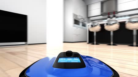 inteligentní : Camera on a robot vacuum cleaner to showing the cleaners movement in first-person perspective. Dostupné videozáznamy