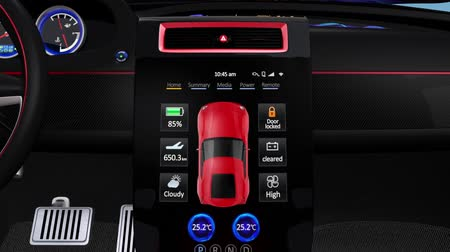 electric : Demonstration of  electric car console UI design. Using touch interactive interface, user can easy to monitoring system condition of the electric car. Original design.