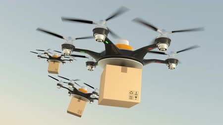 доставлять : Hexacopter drones delivery cardboard packages in formation