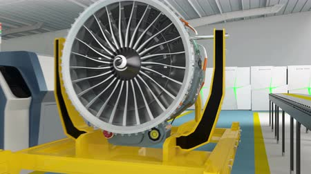 mecânica : Metal 3D printers and Jet fan engine for smart factory concept. Stock Footage