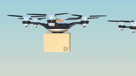 доставка : Hexacopter drones delivery cardboard packages in formation