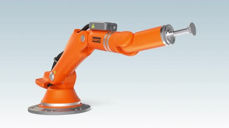 рука : Orange robotic arm holding a blank sign board Стоковые видеозаписи