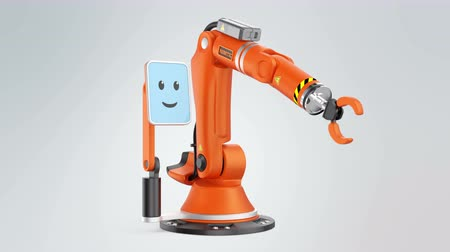 érintés : Robotic arm with monitor which showing smile face icon. User friendly interface make machine easy to controlled. Original design.