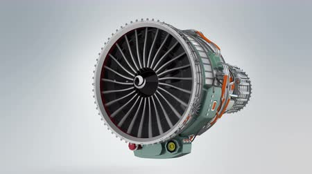peças : Animation of turbofan jet engine on gray background Vídeos