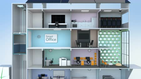chytrý : Animation of smart office building concept. The smart offices energy support by solar panel, storage to battery  system.
