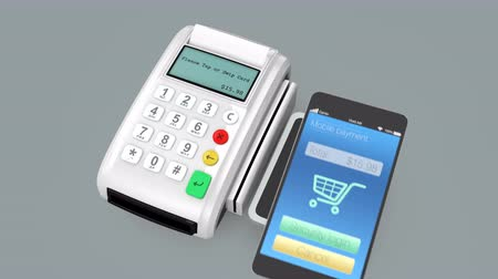 payment : Animation of  cashless mobile payment concept by  smart phone and touch less terminal device. Stock Footage