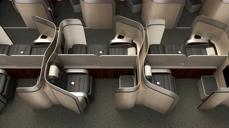 fülke : Luxurious business class cabin interior with metallic gold partition.  3D animation in original design.