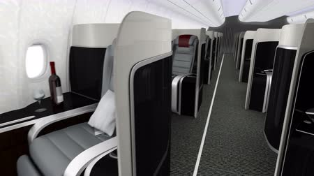 ilk : 3D animation of luxurious business class cabin interior Stok Video