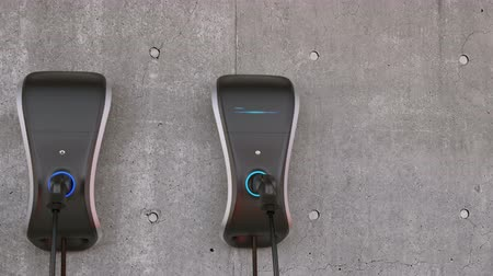 electric : Animation of electric vehicle charging station for home user