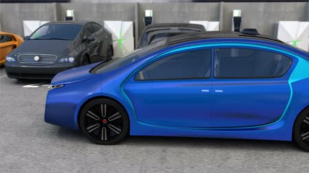 garagem : Blue electric car back to parking space without driver inside the car. Automatic parking assist concept. 3DCG animation. Vídeos
