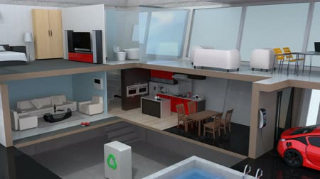 em casa : 3DCG animation of smart house on smart phone. Concept for home automation control by smart phone.