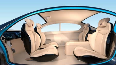 innováció : 3D animation of autonomous car interior concept. Luxury interior serve cool drink service. Seat backrest equip with LCD monitor for multimedia entertainment. Stock mozgókép