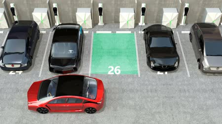 chytrý : Red electric car driving into parking lot navigated with parking assist system. 3D rendering animation.