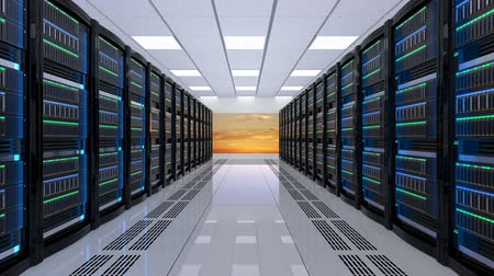 serwerownia : Modern server room interior. 3D rendering animation. Wideo