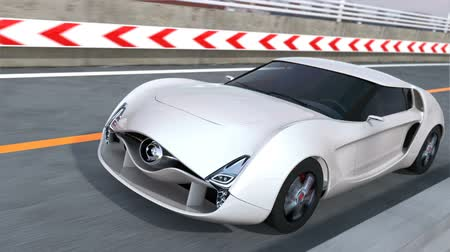 electric : White electric sports car on the highway. 3D rendering animation. Stock Footage