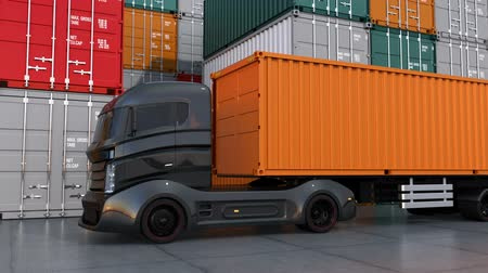 трейлер : Black truck in container port. 3D rendering animation
