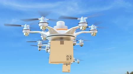 доставлять : Delivery drones with cargo package for fast delivery concept Стоковые видеозаписи