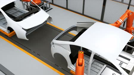 automobilový průmysl : Electric vehicles body assembly line. 3D rendering animation Dostupné videozáznamy