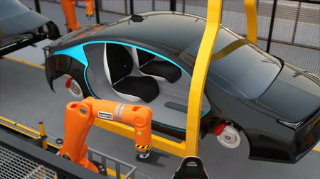 рука : Electric car seat assembly line. 3D rendering animation Стоковые видеозаписи