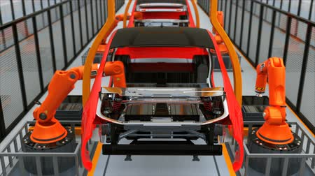 robótico : Electric vehicles  battery assembly line. 3D rendering animation