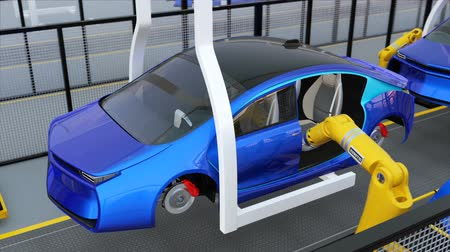 automobilový průmysl : Electric vehicles  doors assembly line. 3D rendering animation