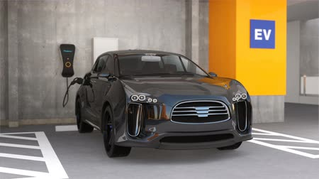electric : Black electric SUV recharging in parking garage. 3D rendering animation. Stock Footage