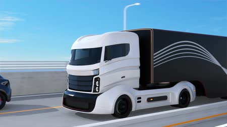 трейлер : White truck passing a black SUV on the highway. 3D rendering animation.