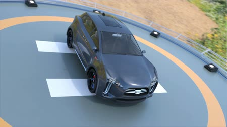 heliport : Black electric SUV parking on the helipad. The doors opened and front seats rotated to backward. Concept for autonomous vehicle. 3D rendering animation. Stock Footage