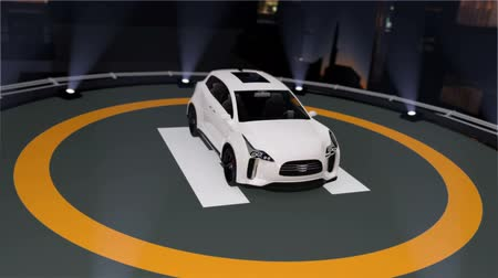 heliport : Electric SUV parking on the helipad. 3D rendering animation