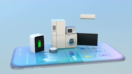 chytrý : Smart appliances on a smart phone. Concept for home automation. 3D rendering animation.