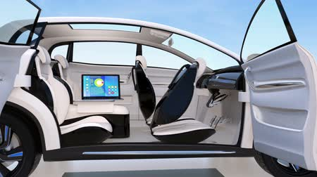 new car : Autonomous car interior design. Concept for new business work style when moving on the road. 3D rendering animation.