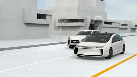 sem fio : Connected cars and autonomous cars concept. 3D rendering animation.