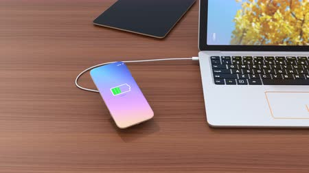 sem fio : Wireless smartphone charging concept. 3D rendering animation.