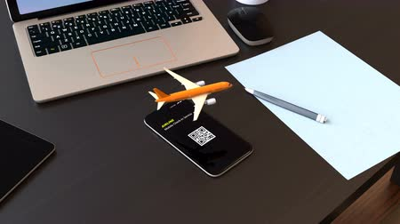 zęby : Passenger plane taking off from smart phone. Mobile airlines check in concept. 3D rendering animation.