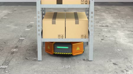 dağıtım : Orange robots carrying pallets with goods in modern warehouse.  Modern delivery center concept. 3D rendering animation.