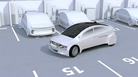 recharging : Autonomous car parking by intelligent parking assist system. 3D rendering animation. Stock Footage